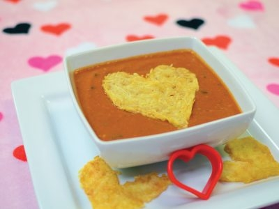 Tomato Basil Soup with Parmesan Crisps